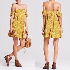 Boho Off Shoulder Babydoll Mini Dress Floral Large
